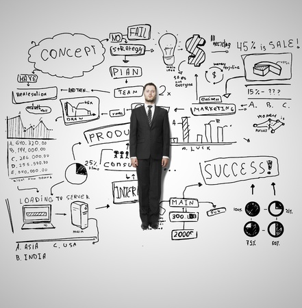 whiteboard: businessman lies and business strategy Stock Photo