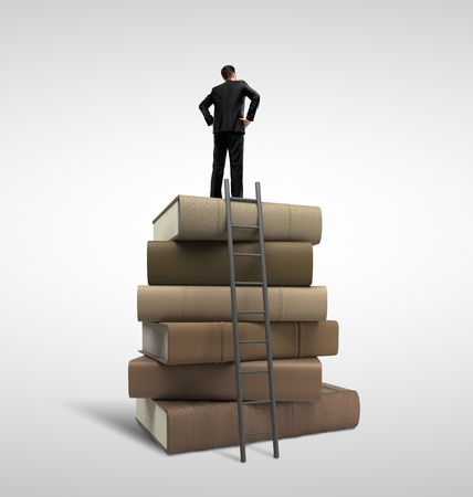 businessman standing on stack of books and ladder