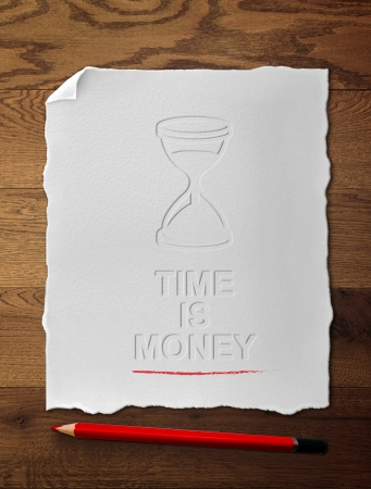 time is money drawing on placard photo