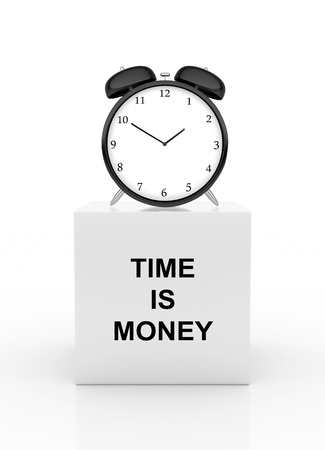 money time: clock on cube, time is money concept