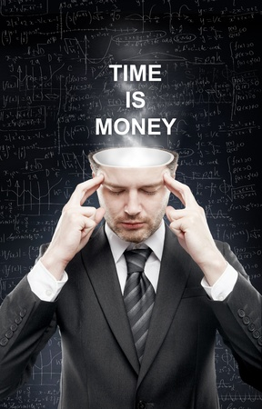 open minded: businessman with open minded, time is money concept