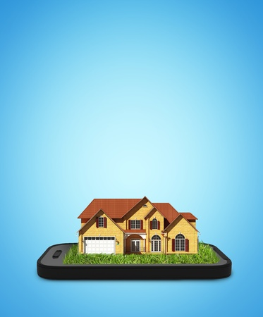 house render: cottage on mobile phone on blue background