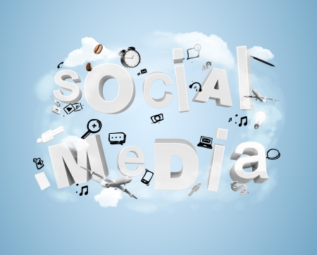 red social media tags, internet concept photo