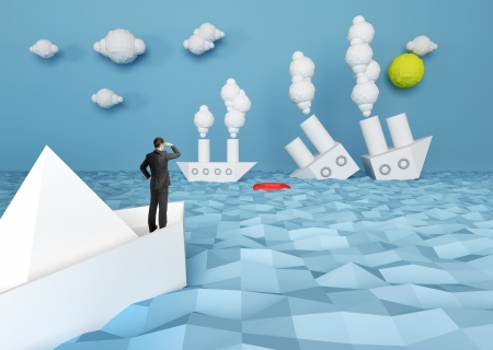 abstract paper battle ship and businessman Stock Photo - 20984035