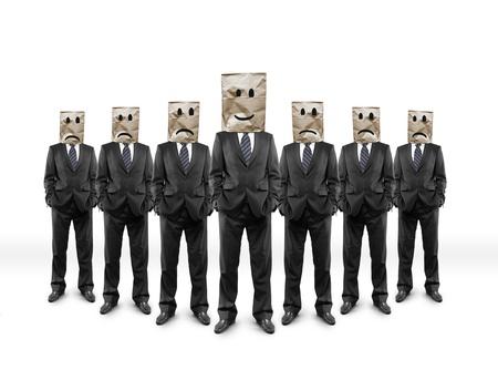 professionnel: businessmans de groupe avec le paquet sur la tête avec des visages de dessin Banque d'images