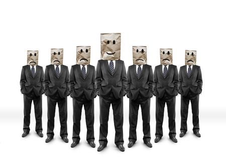 persona triste: businessmans grupo con el paquete en la cabeza con cara de dibujo
