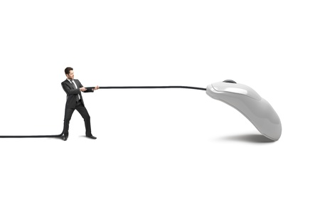 businessman pulling a white mouse Stock Photo - 20984123