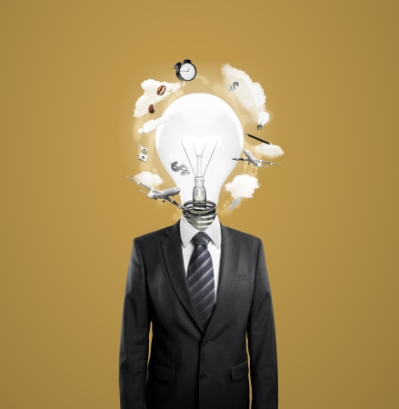 businessman with lightbulb instead of head photo
