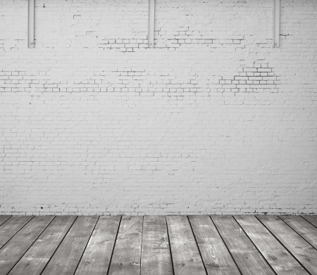 brick wall and wooden floor Stock Photo - 20984484