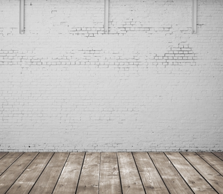 wooden floor and brick wall Stock Photo - 20984485