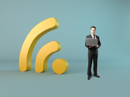 businessman with laptop wi-fi concept photo