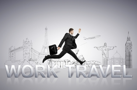 young man jumping  from work to travel photo