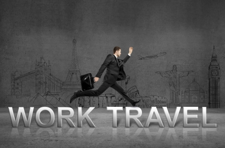 businessman jumping  from work to travel photo