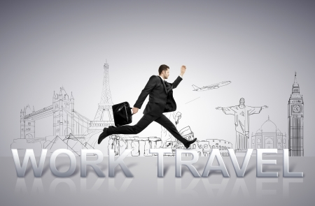 young businessman jumping  from work to travel photo