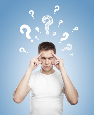 men thinking with question mark over head photo