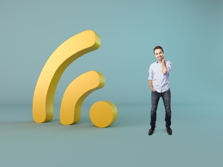 happy man and wi-fi symbol photo