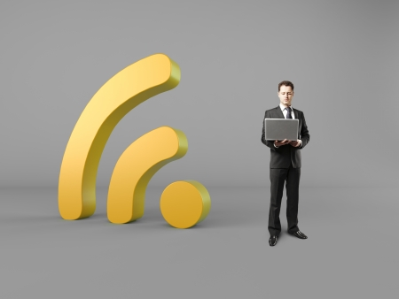 businessman with laptop wireless concept Stock Photo - 21403523