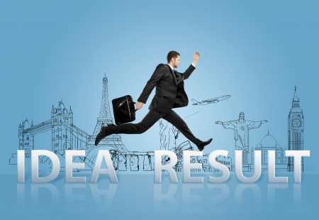 businessman jumping  from idea to result photo
