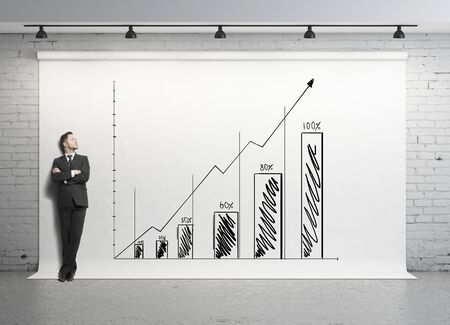 businessman looking at chart on white backdrop photo