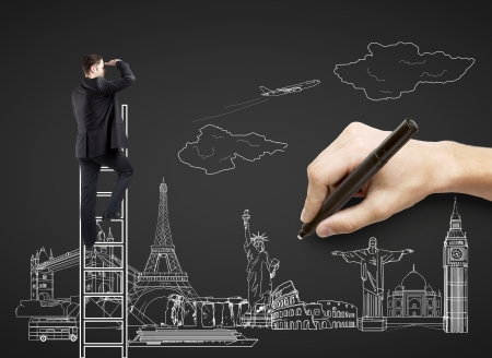 hand drawing on black paper  businessman on ladder, traveling concept Stock Photo - 21409408