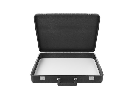 leather briefcase: opened briefcase on white background