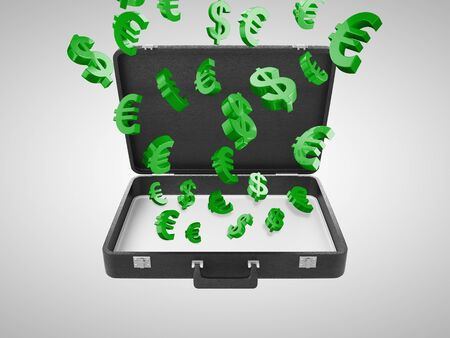 opened briefcase with money sign photo