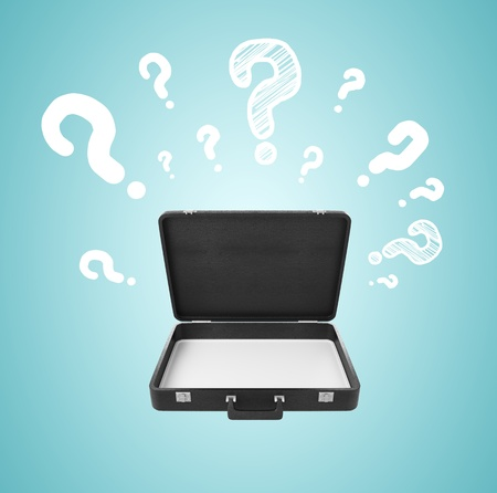 leather briefcase: opened briefcase with  question mark on blue background Stock Photo