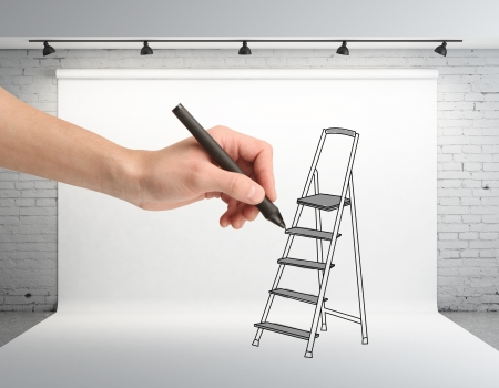 hand drawing ladder on backdrop in room photo