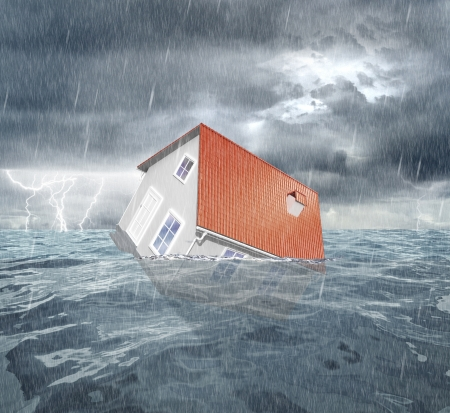 housing crisis: House with red roof sinks in water. 3d rendering Stock Photo