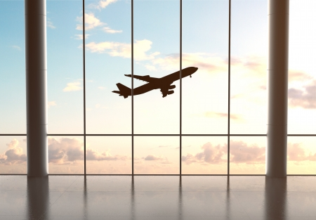 airport and airplane in blue sky Stock Photo - 21352401