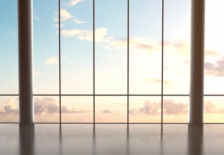 velký sál letiště a modrá obloha photo