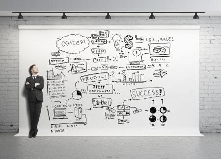 esquema: hombre y el concepto global sobre fondo blanco Foto de archivo