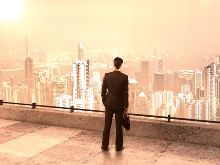 businessman with briefcase on roof looking at city photo