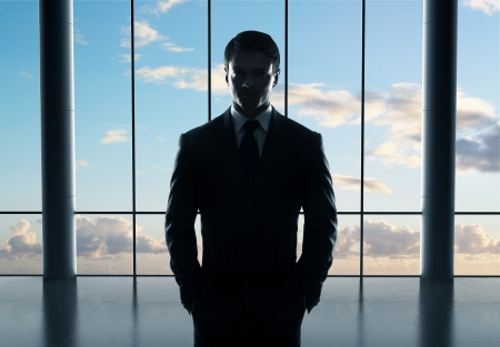 businessman standing in airport and sky Stock Photo - 21349533