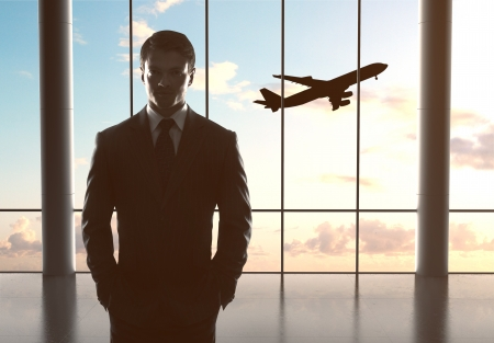 man in airport airplane in sky Stock Photo - 21349541