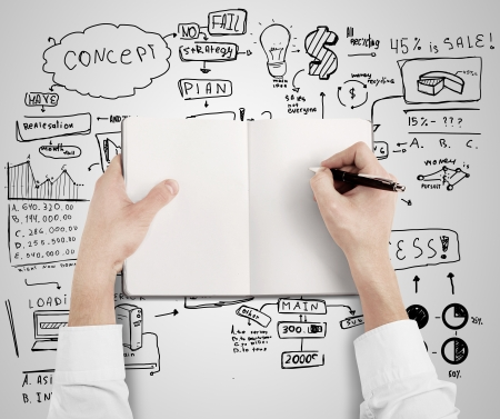 ビジネス戦略の背景に本の中で描画手