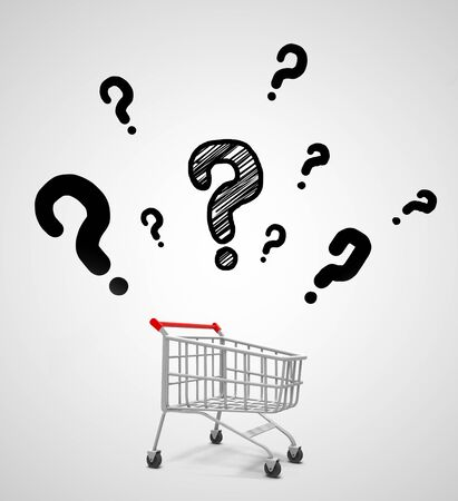 shopping questions: shopping cart and drawing question marks symbol Stock Photo
