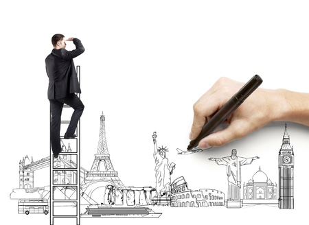 hand drawing businessman on ladder, traveling concept photo