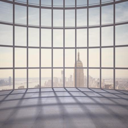 sencillez: gran oficina con ventana grande Foto de archivo