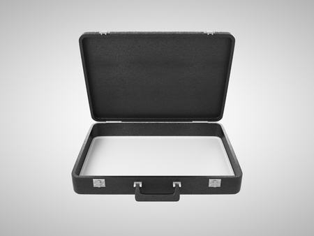 business briefcase: opened briefcase on white background