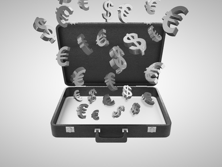 opened briefcase with money symbol photo