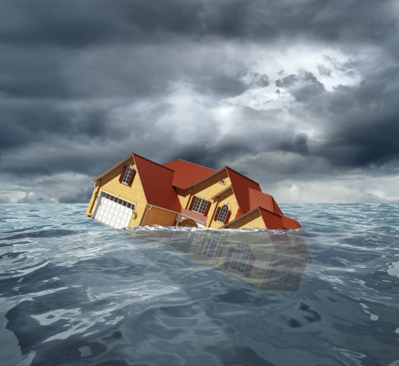 foundation problems: cottage with red roof sinks in water. 3d rendering