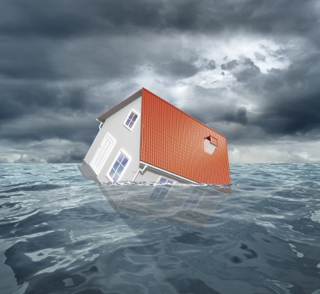 foundation problems: House with red roof sinks in water. 3d rendering Stock Photo