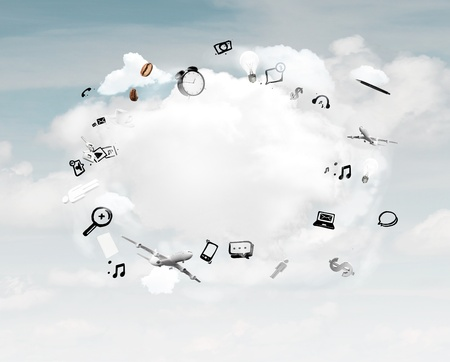 social media icon bubble in sky Stock Photo - 21349820