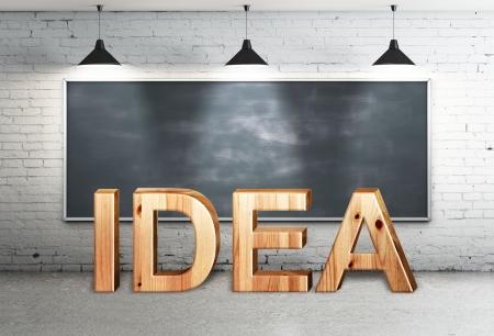 blackbord in brick loft and wooden text idea Stock Photo