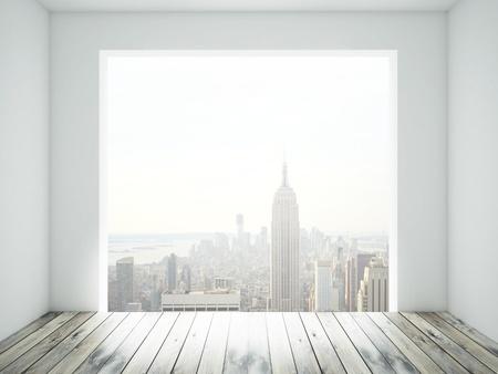 big window: kamer met houten vloer en grote raam
