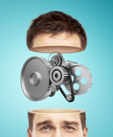 gear head: half head and metal gears on a blue background
