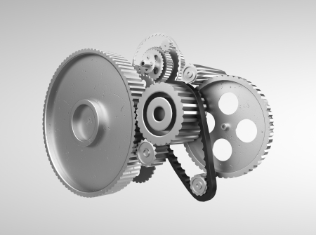 rack wheel: metal gears and cogwheels oh gray background