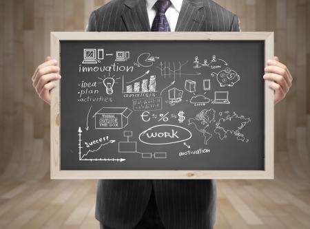 オフィスのビジネス戦略と黒板を保持のスーツのビジネスマン