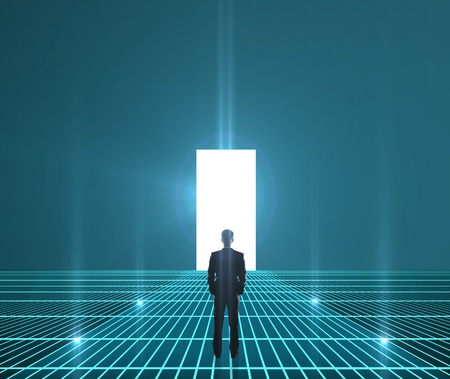 doorway: businessman looking at interface world hole